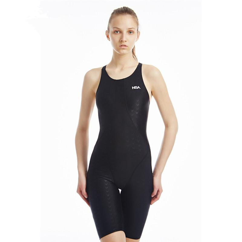 New Swimwear One Piece Competition Training Swimming Suit Women Swimsuit Girls Kids Racing Swimsuits Knee Swim Suits