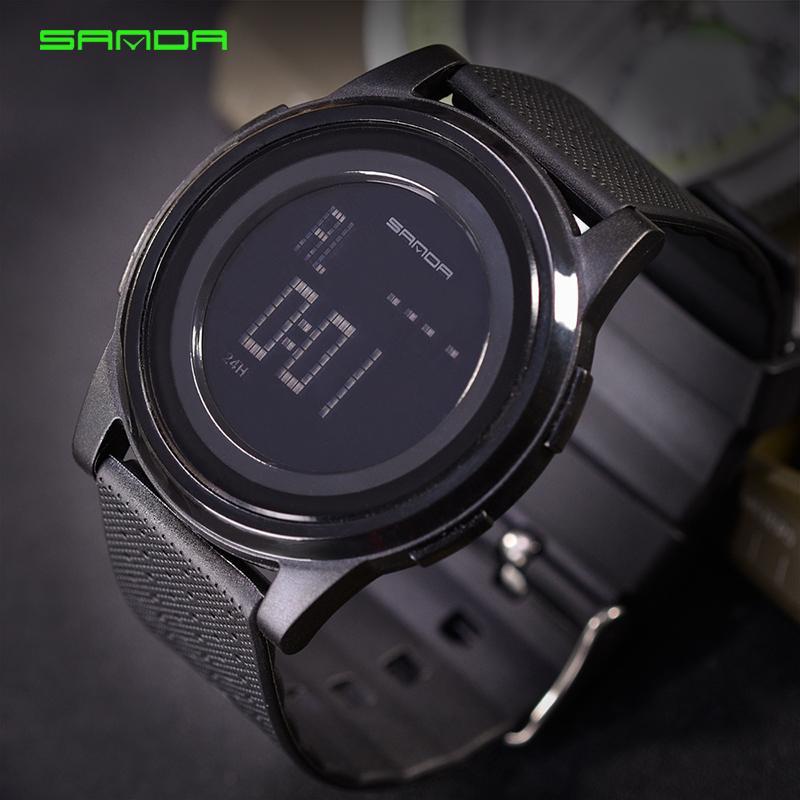 Digitale Uhren Sanda Sport Uhr 9mm Super Dünne Männer Marke Luxus Elektronische Led Digital Armbanduhren Für Männer Männliche Uhr Relogio Masculino