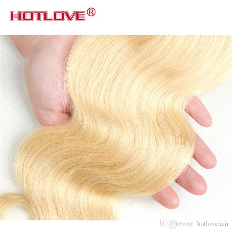HOTLOVE Remy Hair Blonde Color Hair Wefts 3 Bundle with 13*4 Ear to Ear Lace Frontal Closure Brazilian Virgin Human Hair Blonde 613