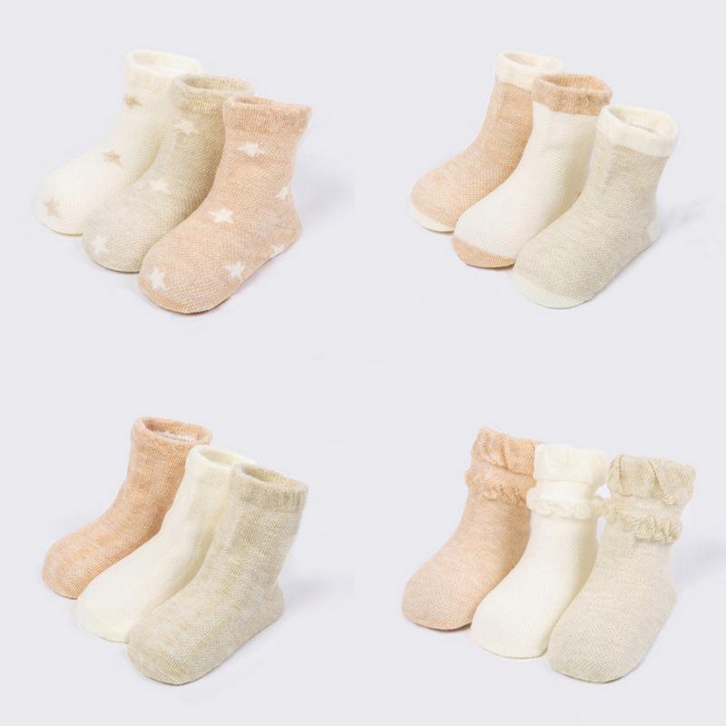 11ac378e9e58d 3 Pairs /lot New Spring Summer Baby Mesh Socks Thin Cotton Infant Newborn  Baby Socks Organic Colored Cotton