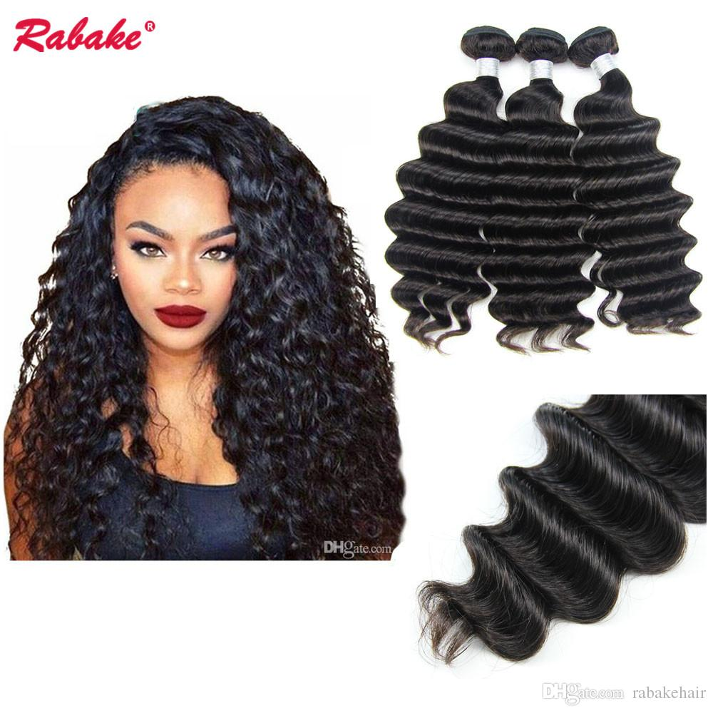 Brazilian Loose Deep Wave Remy Human Hair Bundles Rabake 10A Remi Loose  Deep Curly Cuticle Aligned Hair Extensions Free Ship For Black Women Weave  Hair ... c826bbaea8