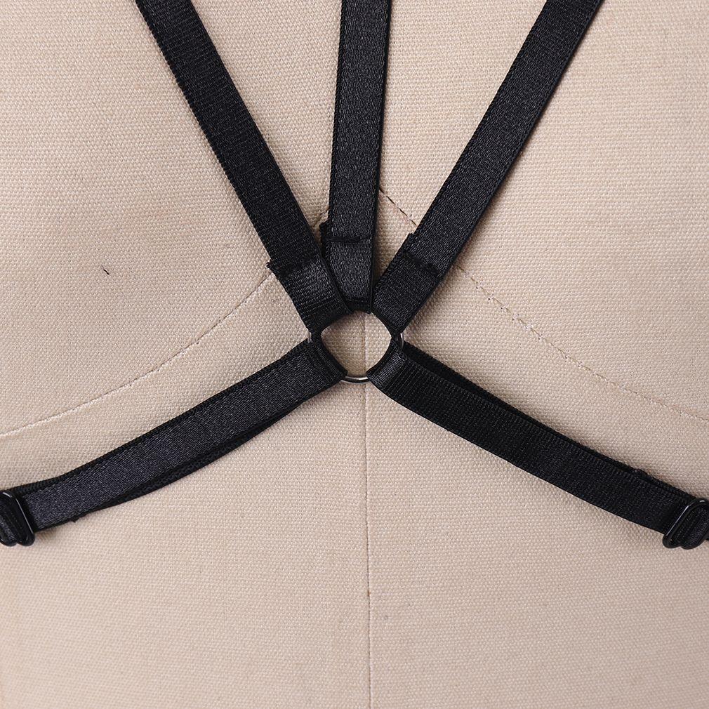 Fetish Body Harness Use Cage Mujeres Sexy Bondage Lencería Hecho a mano Cupless Body Harness Goth Crop Top Underwear