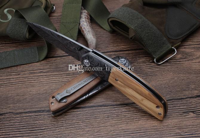 Último CM75 cuchillo abierto rápido de acero táctico cuchillo plegable caza camping caza cuchillo de supervivencia placa de acero + madera de oliva natural ha