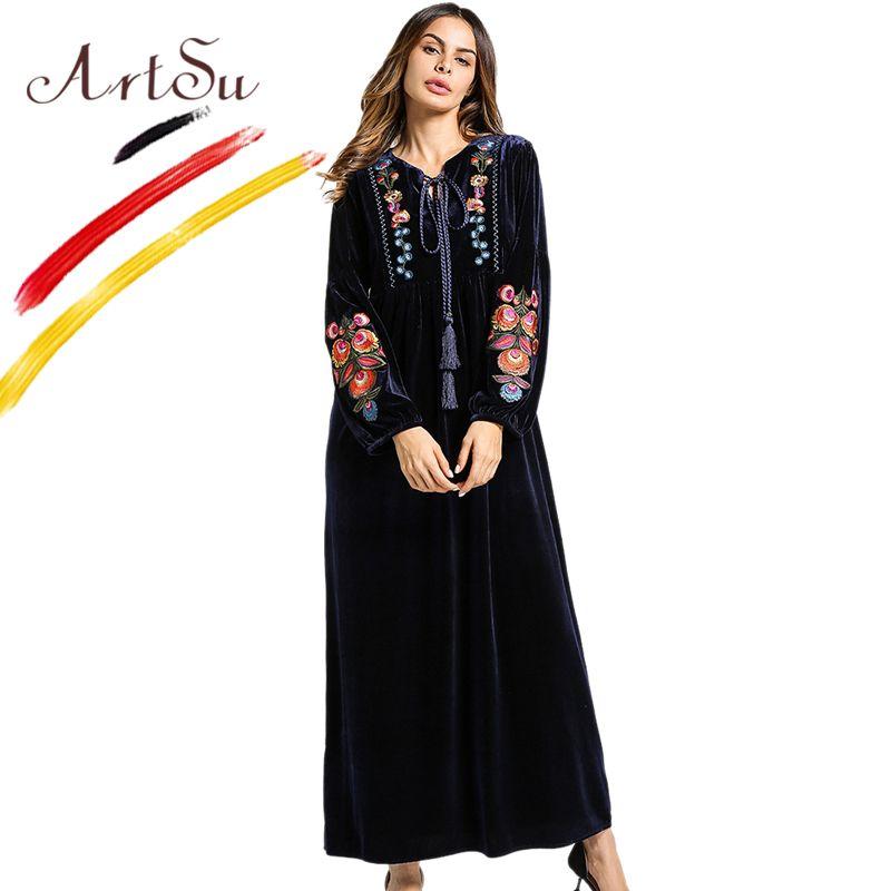45119e1cebd 2019 ArtSu Tassel Tie V Neck Long Sleeve Winter Dress Women Vintage Floral  Embroidery Velvet Maxi Dress Elegant A Line Dress PlusSize From Ruiqi02