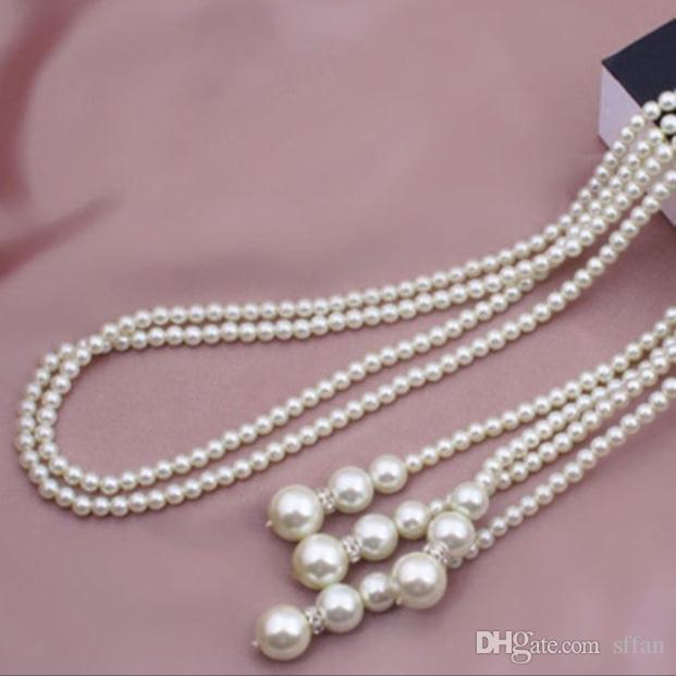 Moda feminina Elegante Completa Branco Artificial Imitação de Pérolas Nó Encantos de Cadeia Longa Colar de Pingente