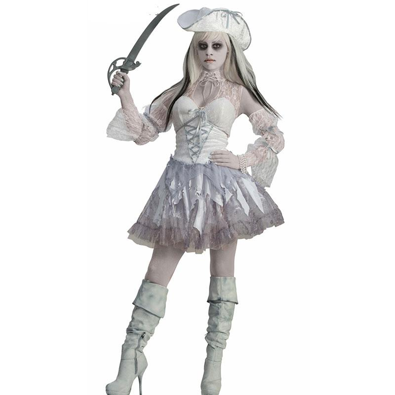 Halloween Costumes Scary Women.Sexy Ghost Cosplay Costume White Pirate Devil Halloween Costumes For Women White Ghost Cosplay Scary Halloween Dress 40072