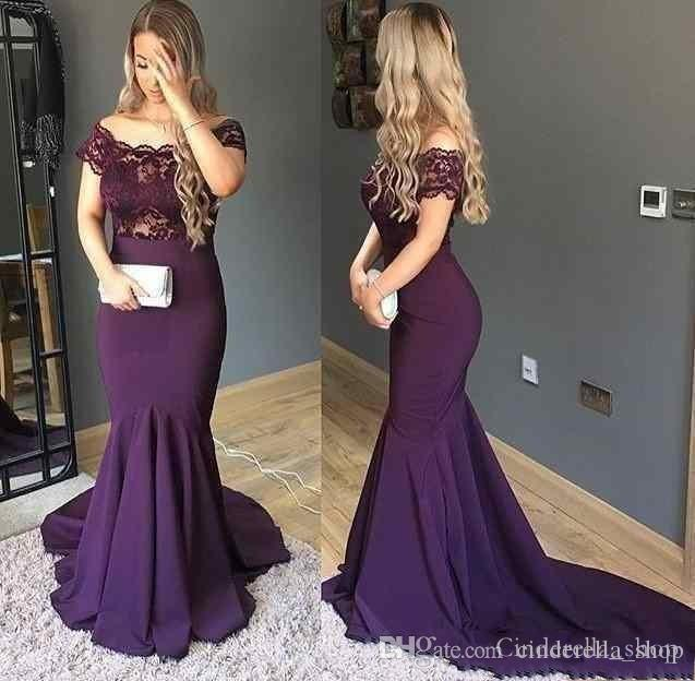 2018 Dark Purple Mermaid Evening Dresses Sweep Train Off The Shoulder Short  Sleevess Top Lace Long Formal Prom Gowns Cheap Custom Made Dylanqueen  Evening ... c58fda3a4a7b