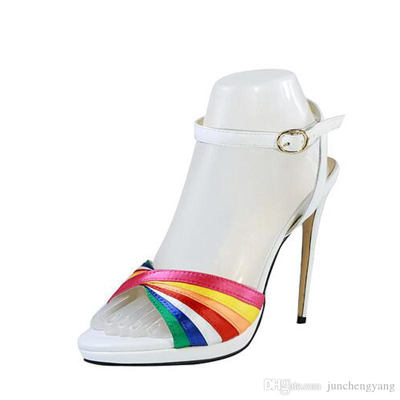 3405712b3 Summer Rainbow High Heel Sandals Women One Word Buckle Genuine Leather  Mixed Color Sexy Extreme High Heels Ladies Shoes Saltwater Sandals Designer  Shoes ...