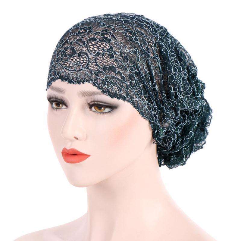 3a657796d94dd Women Lace Muslim Ruffle Cancer Chemo Hat Beanie Scarf Turban Head Wrap Cap  Ski Hats Newborn Hats From Melontwo