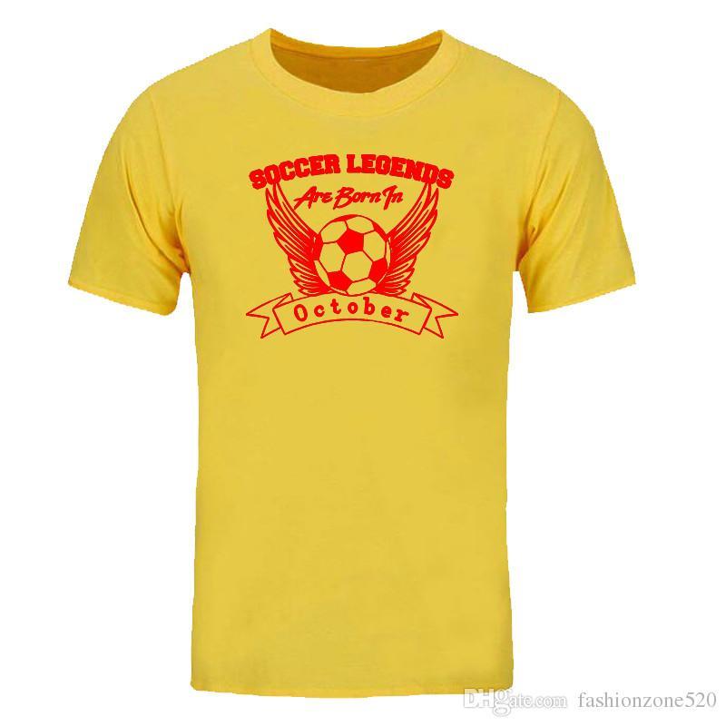 Las leyendas del fútbol nacen en Octobe Print camiseta Los hombres de la moda Tops Tees Summer algodón casual crew neck Shor manga camiseta DIY-0352D