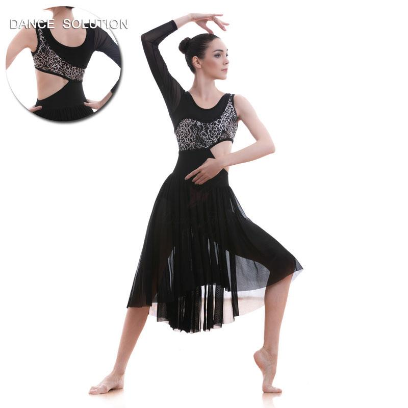 4a891687877f 2019 Black Lyrical And Contemporary Dance Costume Adult Long Ballet Dress  18589 From Elseeing, $76.12 | DHgate.Com