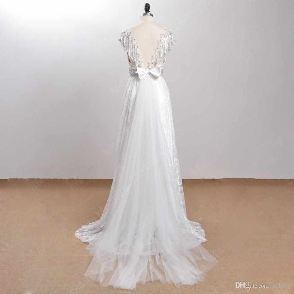 Real Beach Boho Robes de Mariée 2020 perles cristal arc dos nu mariage d'été robes de soirée Robes de mariée Robes de mariée Chine en ligne