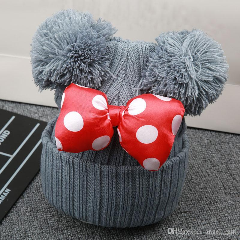 Acheter Belle Hiver Double Boule De Pompon Tricoté Bébé Casquettes Dessin  Animé Grand Bowknot Infantile Bébé Fille Chapeau Bonnet Chaud Bonnet Pour  Enfants