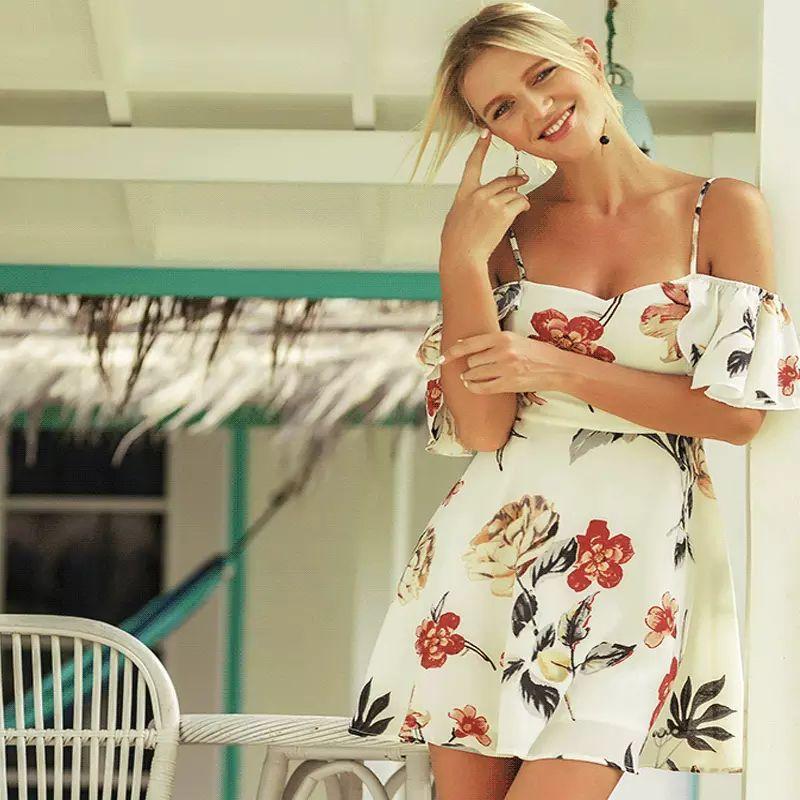 09d0c2bdc6483 Hot Sale Mini Summer Slash Neck A-line Dresses Spaghetti Strap Ruffle  Polyester Floral Print Casual Skirt Clothing Sexy Beach Women Sundress