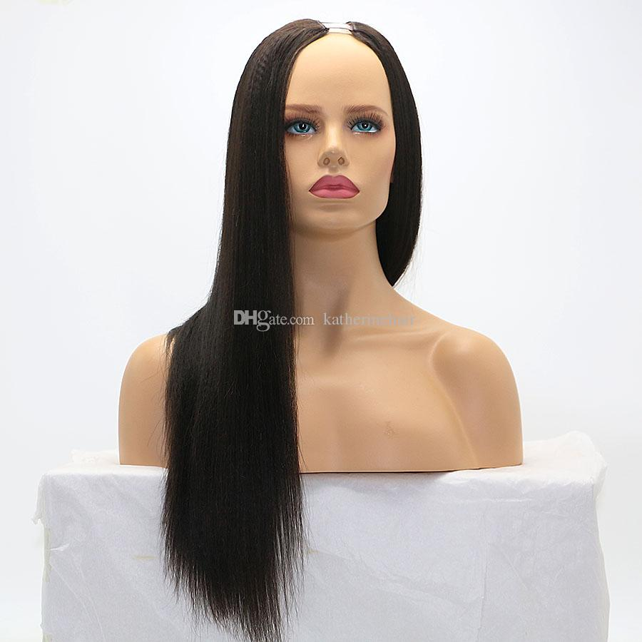 Italian yaki U part wig brazilian human hair upart wigs for black women kinky straight african american