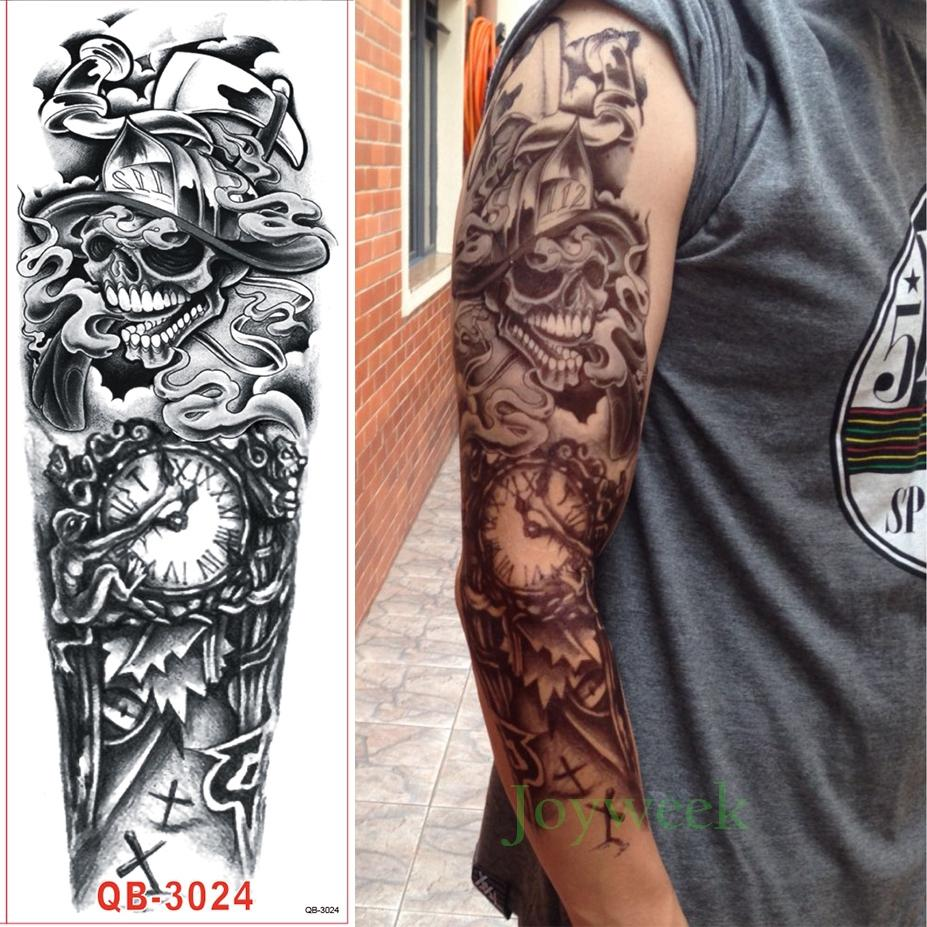 Waterproof Temporary Tattoo Sticker Full Arm Large Skull Old School