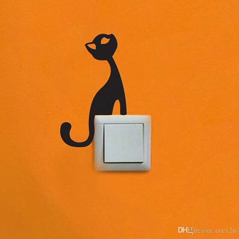 Little cat sit on the switch laptop cup book family Wall stickers decoration decor home decals fashion waterproof bedroom living sofa