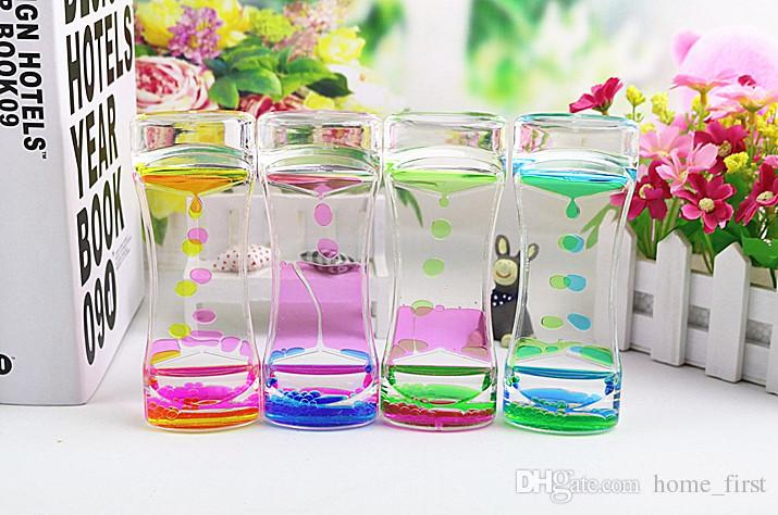 Floating Double Color Symphony Slim Liquid Oil Leakage Dynamic Timing Acrylic Hourglass Timer Clock Ornament Desk