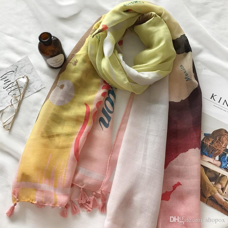 Korean Spring and Summer Powder Rice World Map Cotton Linen Tassel Air Conditioning Scarf Beach Towel Sunscreen Printing Multifunction Shawl