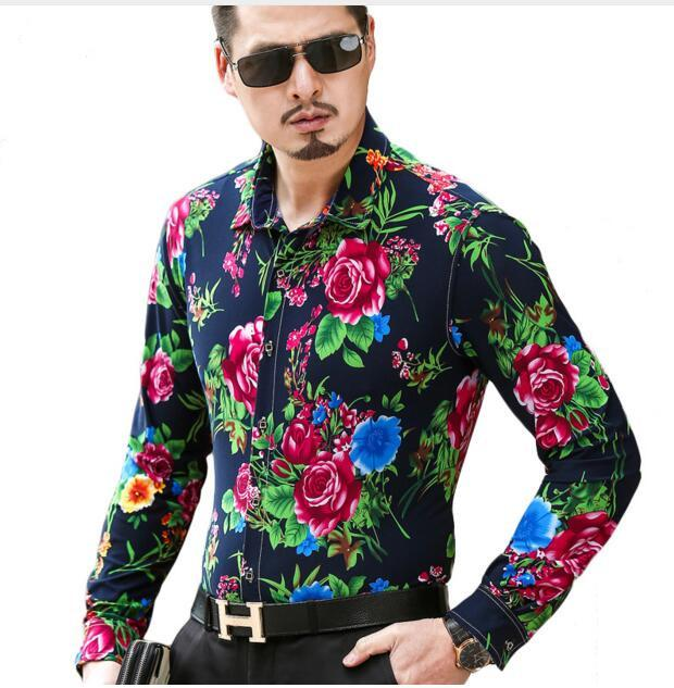 Men Shirt 2018 5XL 6XL Plus Size Mens Floral Shirts Brand Cotton Silk Shirt Long Sleeve Camisa Social Masculina