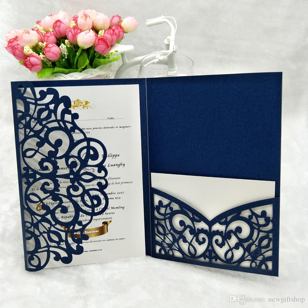 Many Color Tri Fold Pocket Wedding Invitation Card 2019 Shimmy Navy
