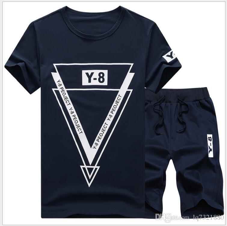 HOT SELL New Summer Men Set Sporting Suit Short Sleeve T shirt+Shorts Two Piece Set Sweatsuit+Pants Quick Drying Tracksuit Men