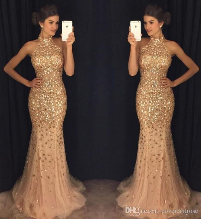 9be3d37844 2018 Shiny Gold Prom Dresses Long Luxury Beading Tulle High Neck Floor  Length Formal Mermaid Party Dress Evening Wear