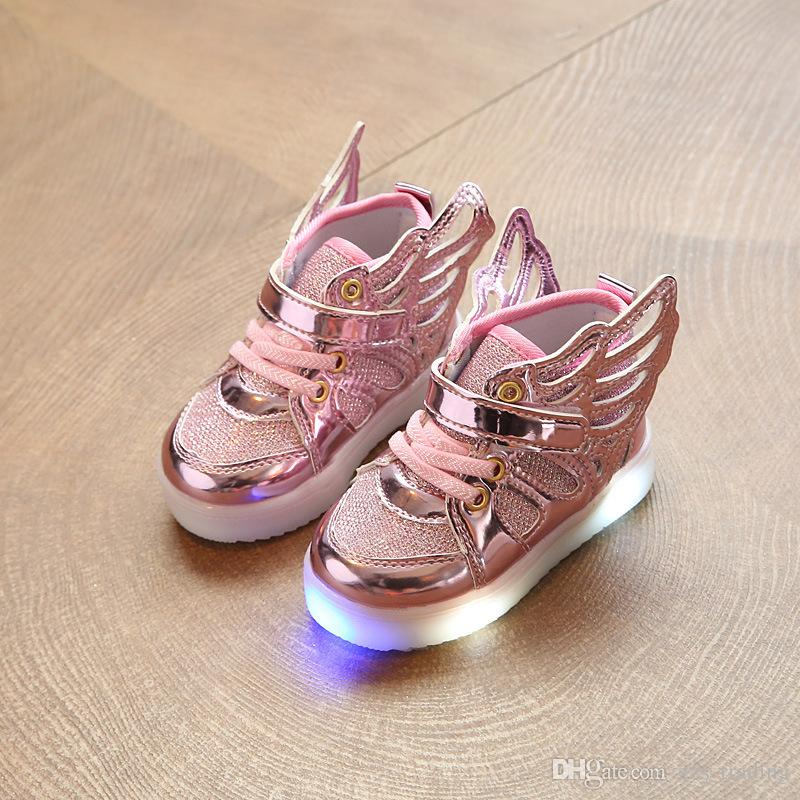 45d8220287c356 New Kids Light Up Shoes With Wing Children LED Shoes Boys Girls Glowing  Luminous Sneakers Boy Fashion Shoes Non Slip Light Hot Products Boys  Sneakers Sale ...
