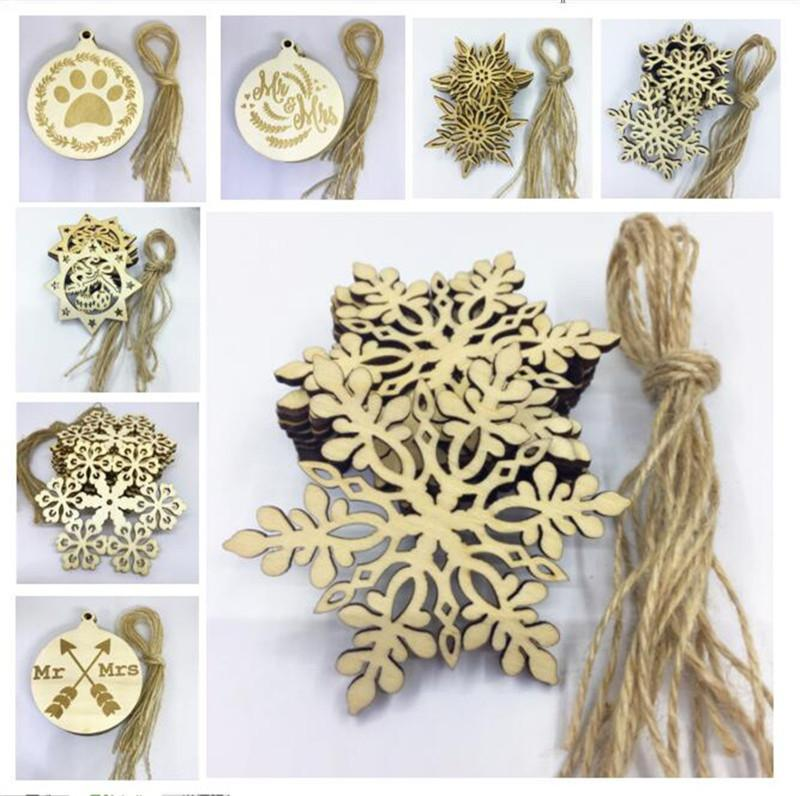 Christams Ornaments Decorations for Wooden Snowflake Piece Word Love Arrow Hanging Pendant with Strap Christmas Gifts Crafts 11 Designs 50PC