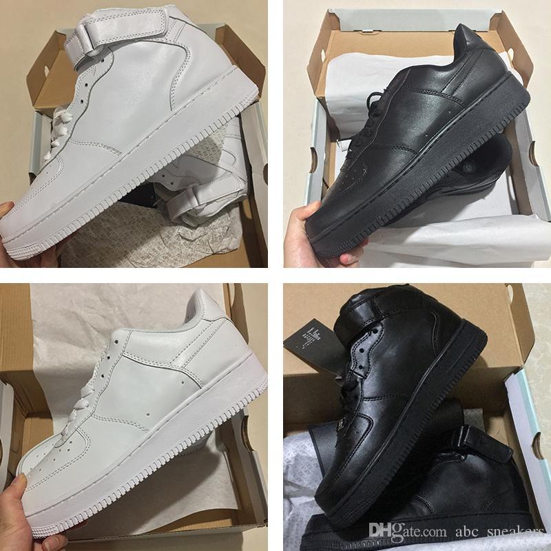 low priced fee95 e5b41 Acheter 2018 Vente Chaude Nouveau Nike Air Force 1 Id Faible Haute Moyen 07  Ultra Classique Tout Blanc Noir Haute Coupe Hommes Et Femmes Sport Baskets  ...