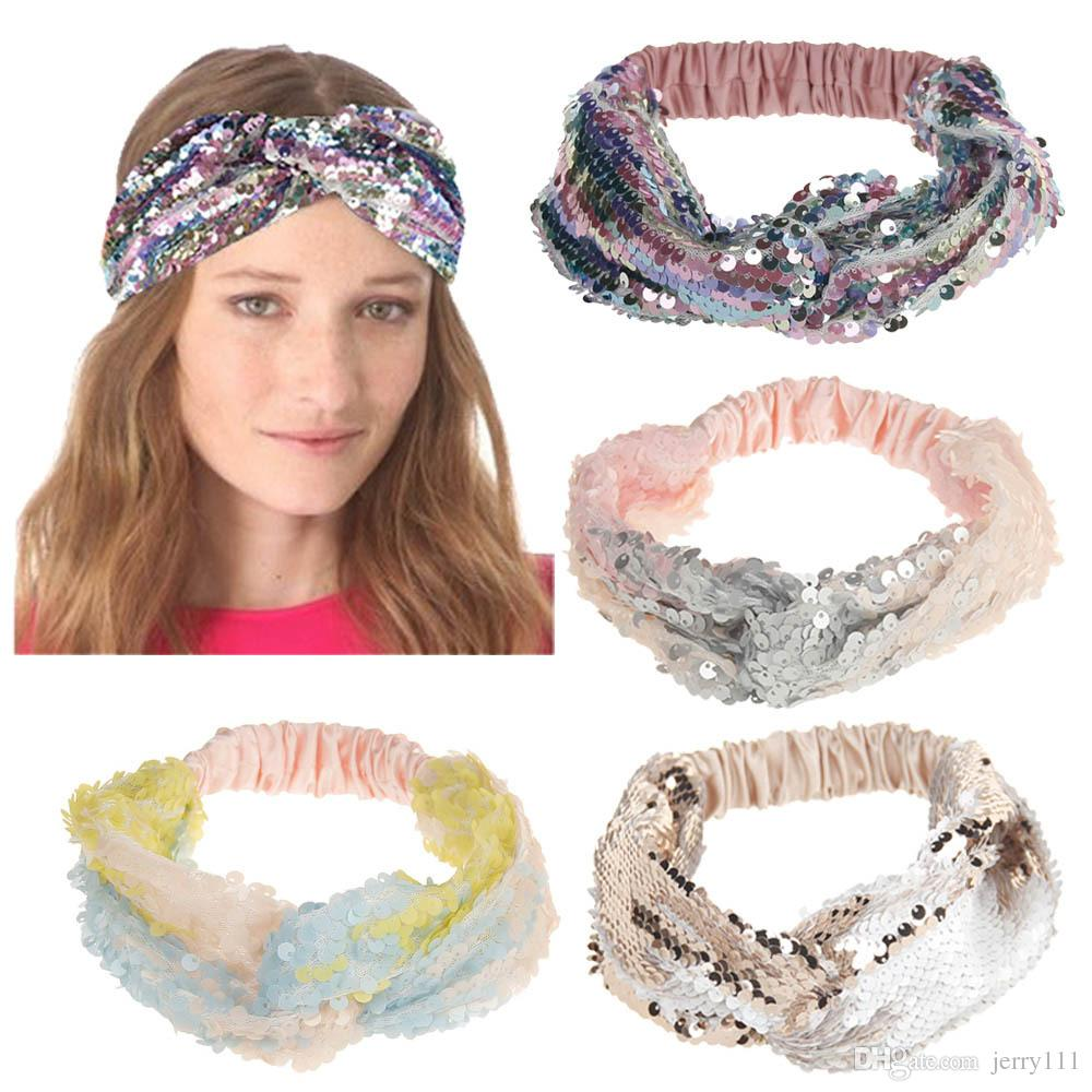1b704d27e8a Women Headbands Summer New Arrival Elastic Turban Head Warp Sequins Headwear  Wide Elastic Sport Yoga Le126 Fashion Hair Accessories Japanese Hair ...