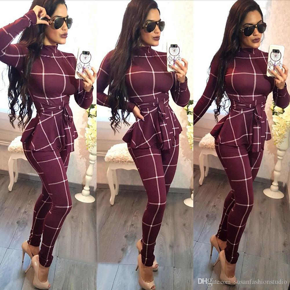 2e70021d60 2019 2018 New Women Casual Plaid Jumpsuit With Belt Fahsion Women Clothing  Women Sexy Long Sleeve Slim Fit Jumpsuits From Susanfashionstudio