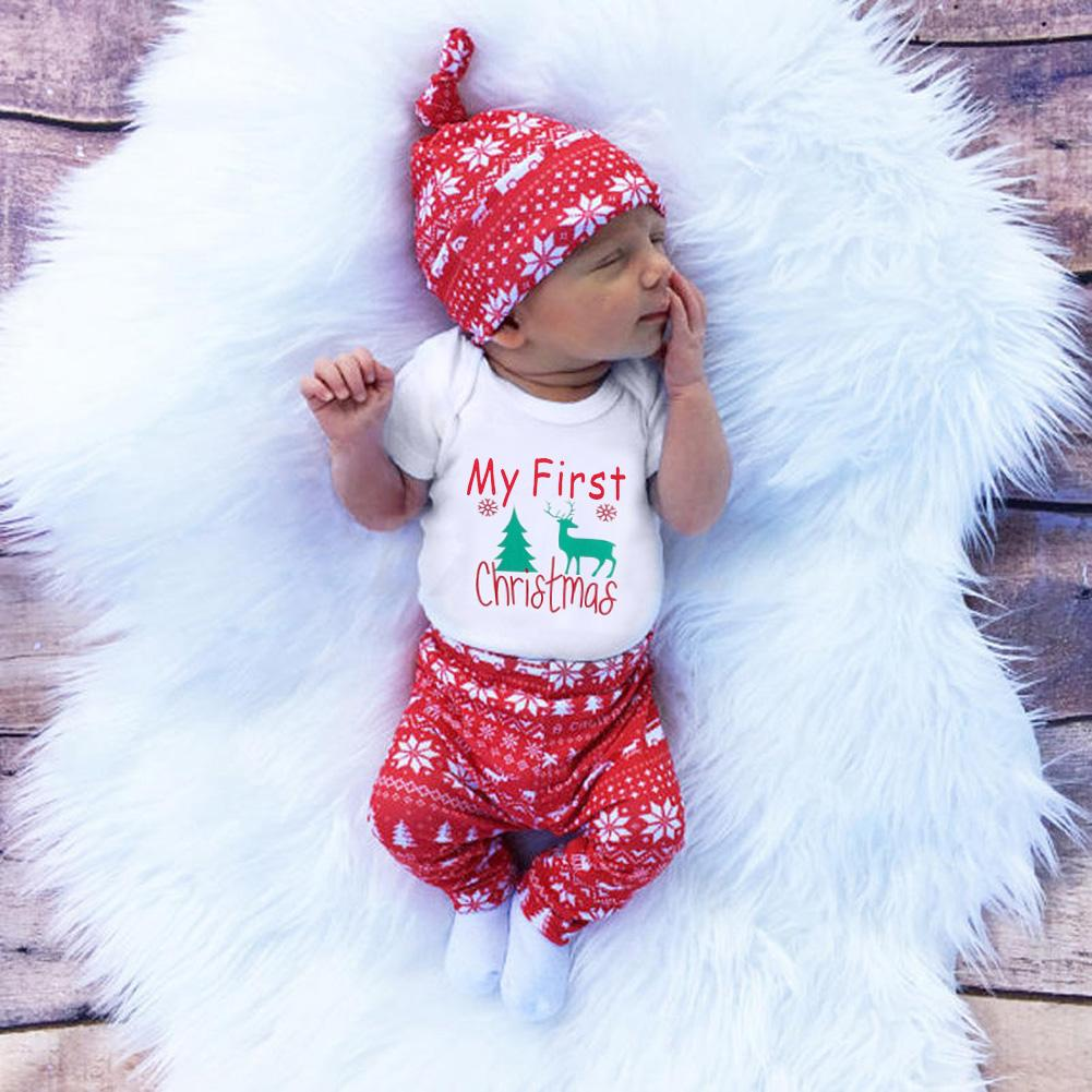 52d9303dd0bc 2019 Cute Newborn Clothing Set Baby Boy Girls First Christmas Clothes Infant  Romper Pants Hat Outfit From Luckyno