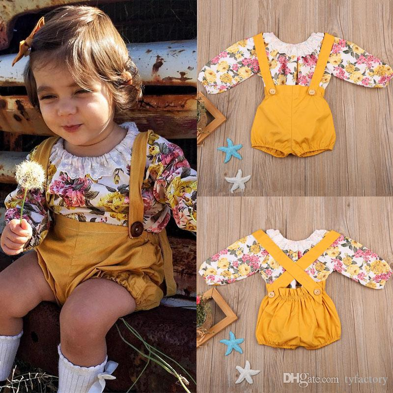 773f955e2 2018 Newborn baby girl Yellow flower romper+overalls 2-piece outfit Spring  kids girls clothing boutique clothes wholesale factory products