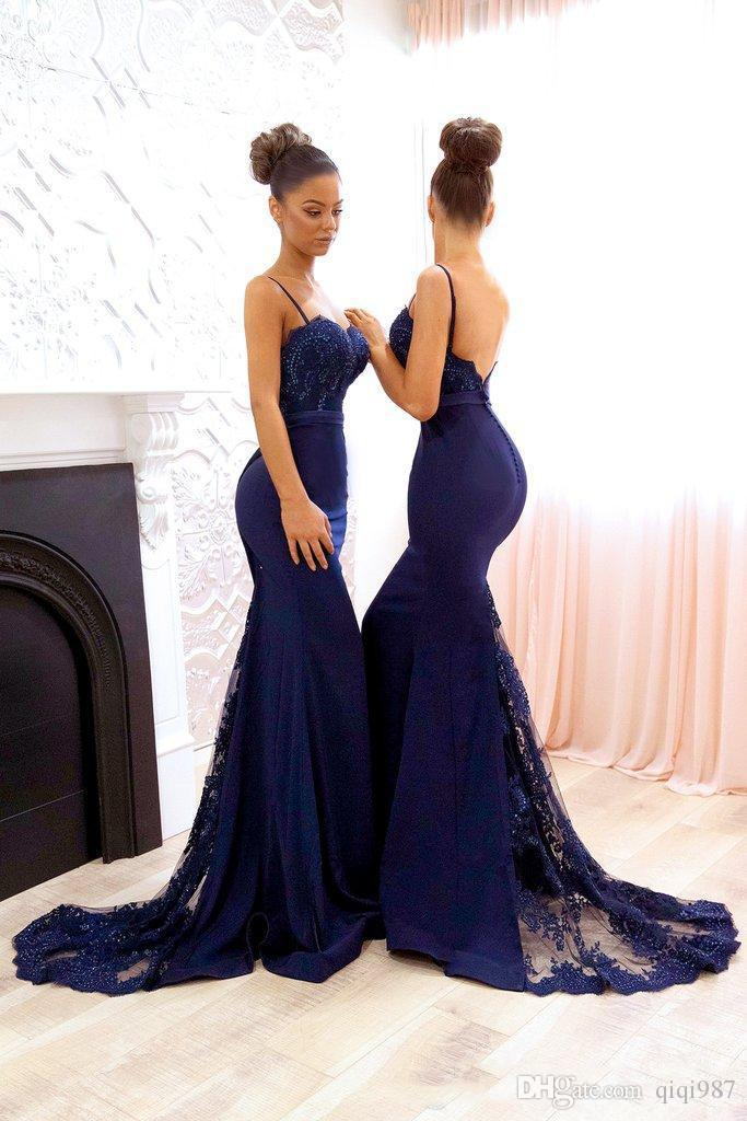 Navy Blue Bridesmaid Dresses 2018 Spaghetti Straps Evening Gowns ...
