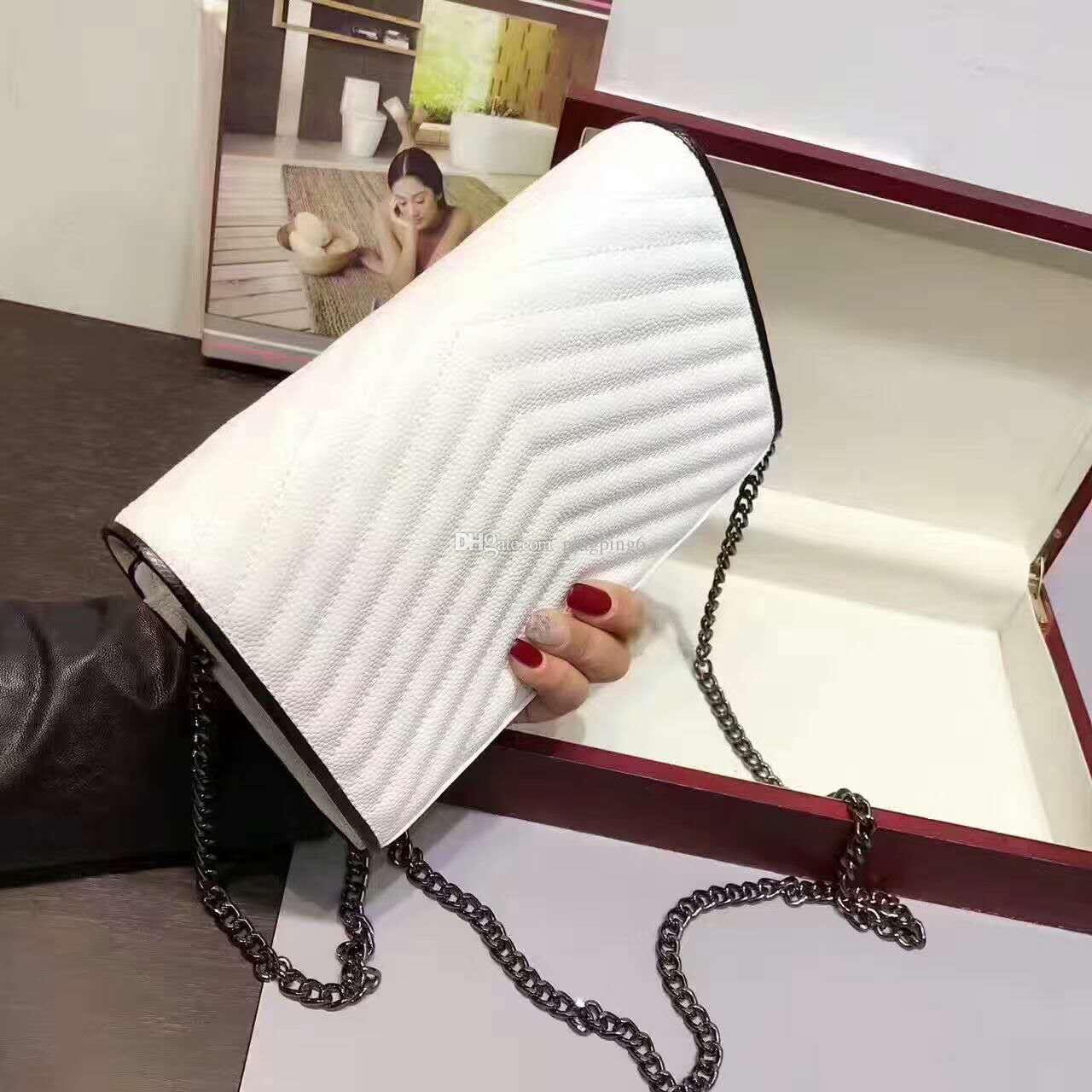 freeship famous brand top quality small bag women handbag messenger bag Caviar leather genuine leather bag chain stripe with box