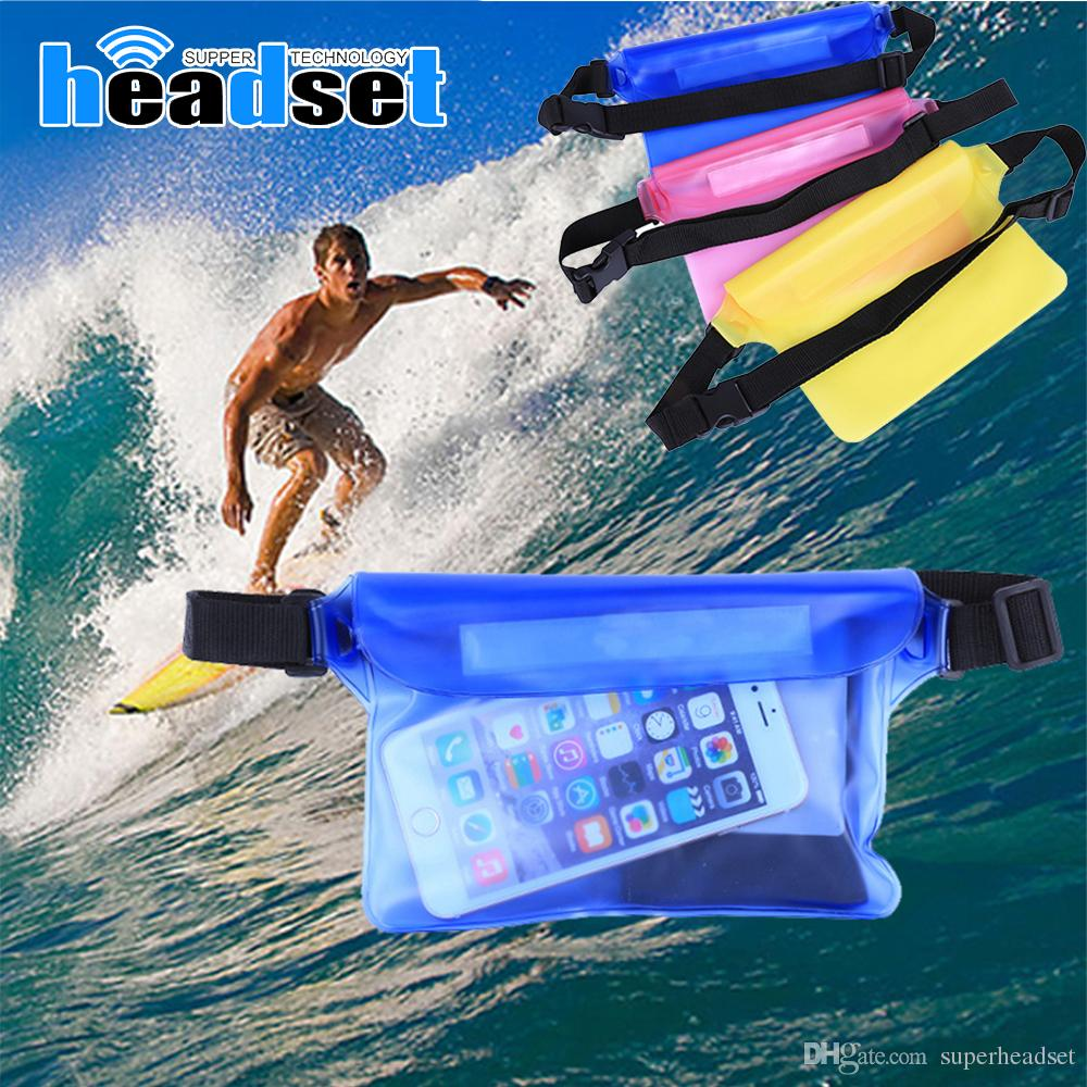 21.5*15cm Waterproof Big Waist Case Cover For iphone 6 6s 6+ 5s 5c 5 Samsung S8 Plus Note 2/3/4/ 5 Underwater Sports Bag