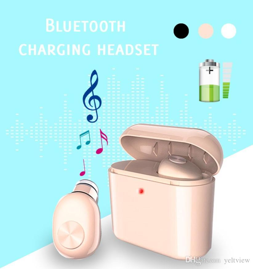 Wireless Bluetooth headphones earphones with 300mAh charge box BL1 Mini earbud Single Invisible Earpiece Headset For iphone xiaomi universal