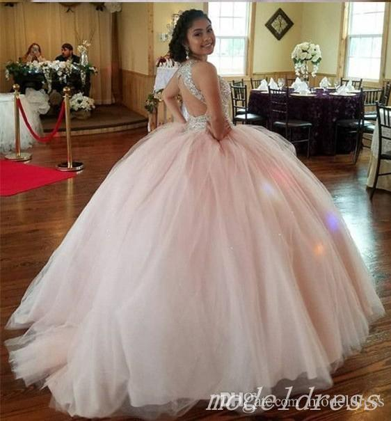 d3fe0fb0e66 Sparkly Peach Pink Ball Gown Quinceanera Dresses 2018 Jewel Hollow Back  Crystal Beads Prom Party Gowns For Sweet 15 Vestidos De 15 Anos Zayas  Quinceanera ...