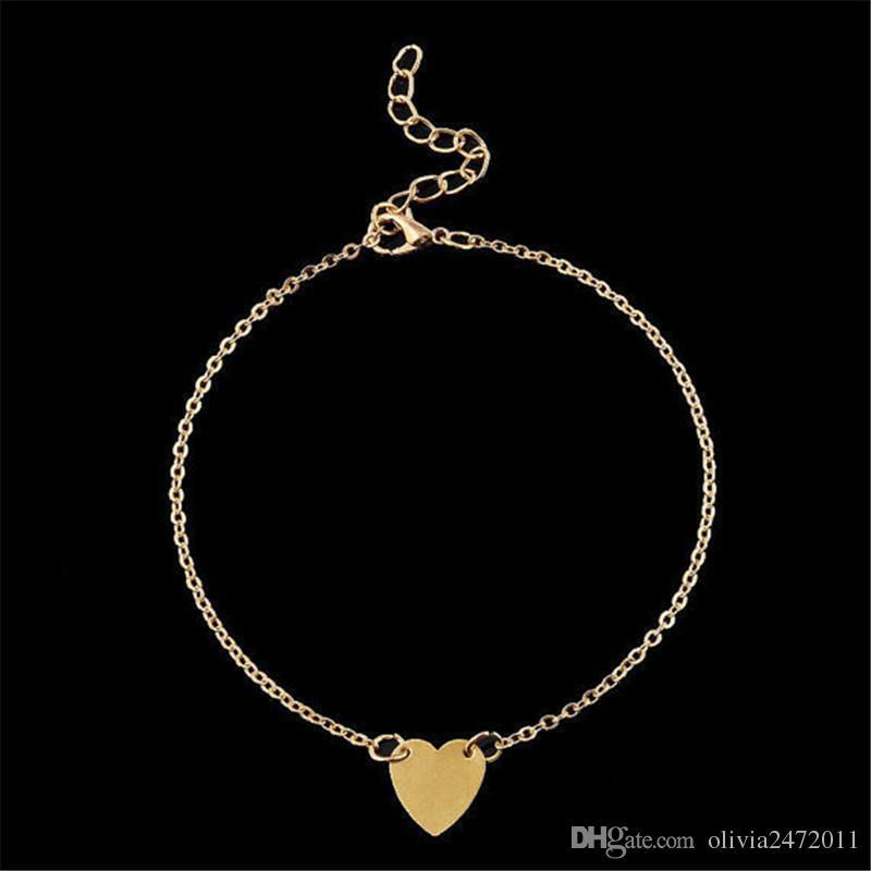 Tono de la plata del estilo boho atractiva del oro del pie de la cadena en forma de pulseras para el tobillo del corazón de la vendimia joyas de moda para las mujeres niñas