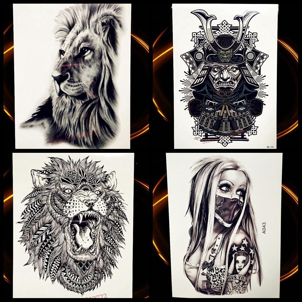 tatuagem metalizada animal África serengeti leão tatuagem temporária