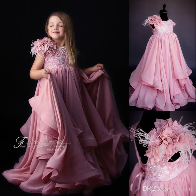 2018 Flower Girl Dresses For Beach Wedding Dress Lace Hand Made Flower Tassels A Line First Communion Dress Cheap Girl Clothes