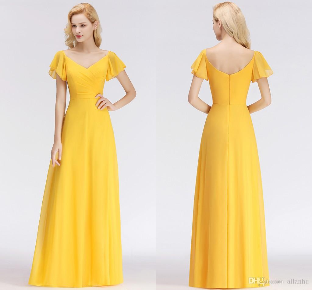 Wedding Guest Dresses Canada.New Arrival Yellow 2018 Cheap Bridesmaid Dresses V Neck Ruffles Wedding Guest Dress Maid Of Honor Gowns Brautjungfer Kleider Bm0037