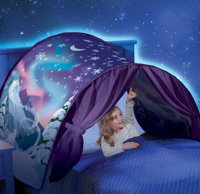 80*230cm Kids Dream Tents Folding Type Unicorn Moon White Clouds Cosmic Space Baby Mosquito Net toy tents Without Night Light