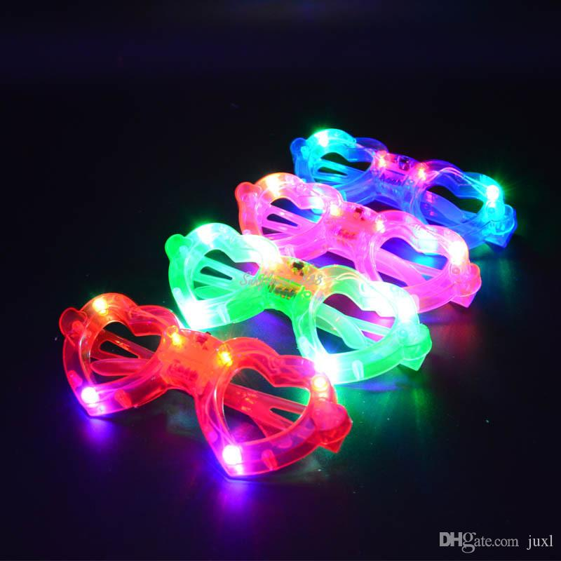 Bambini adulti lampeggiante LED a forma di cuore Occhiali da vista Party Light Up Novità lampeggianti Accessori costume cosplay