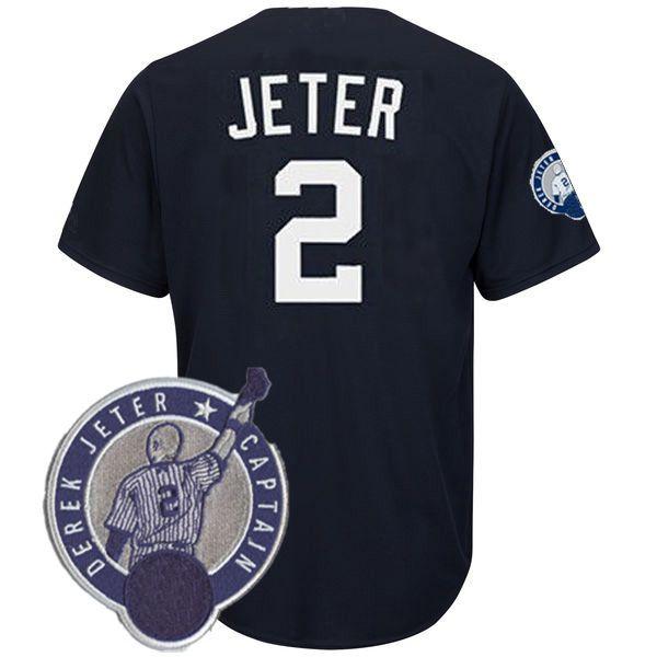 Men s New  2 Derek Jeter Fashion Navy Cool Base Player Jersey 2 ... 6a64986e4
