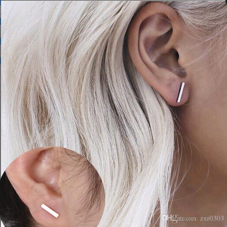 2018 Мода золото серебро панк простой T бар серьги для женщин уха Стад серьги ювелирные изделия геометрия женщины серьги