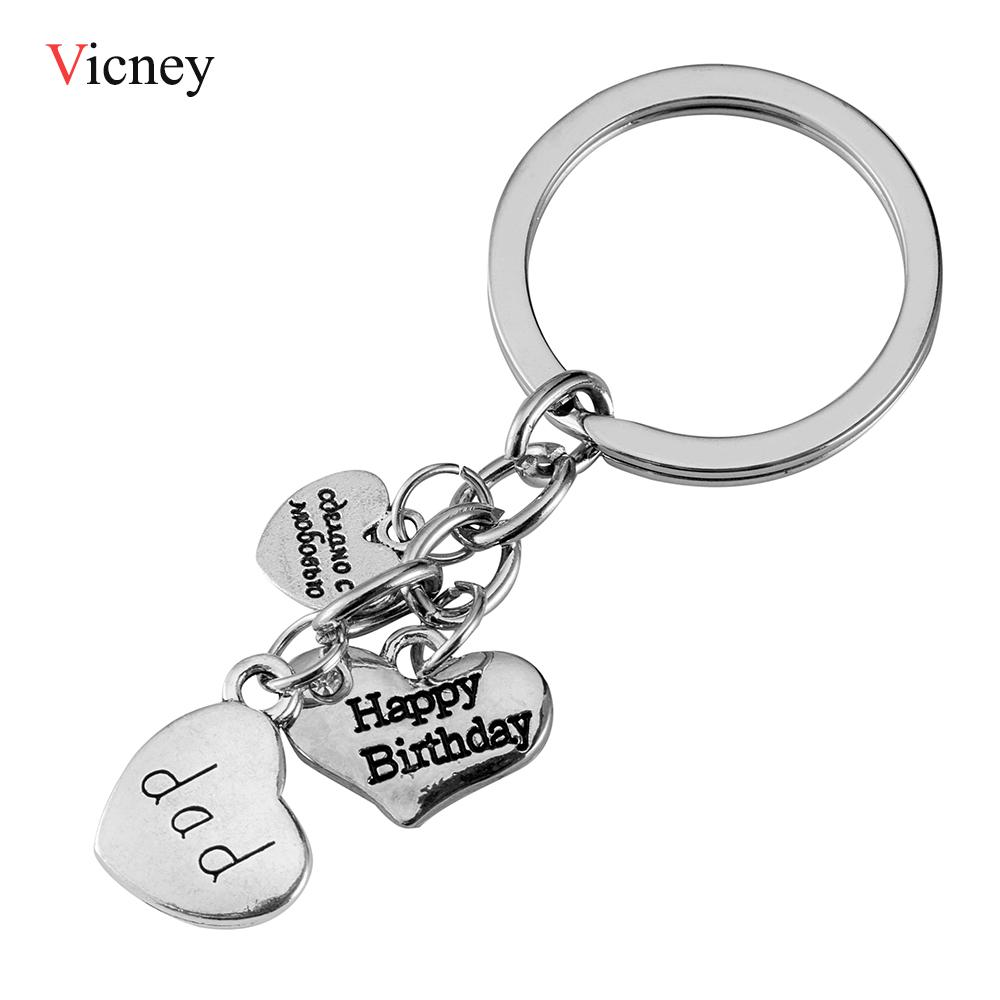 New Arrive Birthday Gift For Father Mom Three Heart Set Happy Dad Keychain Choice Of Charm Couples Keychains Couple From