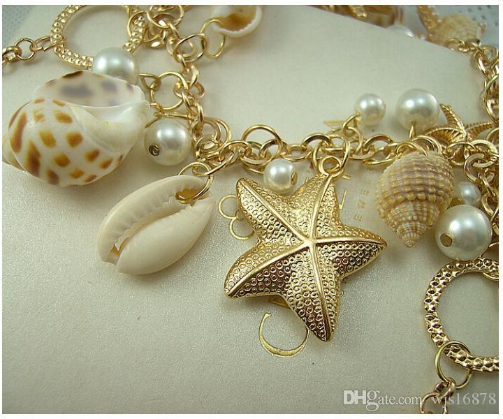 Toptan-Conch Shell Denizyıldızı Simüle inci kolye Sweet Moda Moda Sea Star Kaplama multitiered Kolyeler İçin Kadınlar