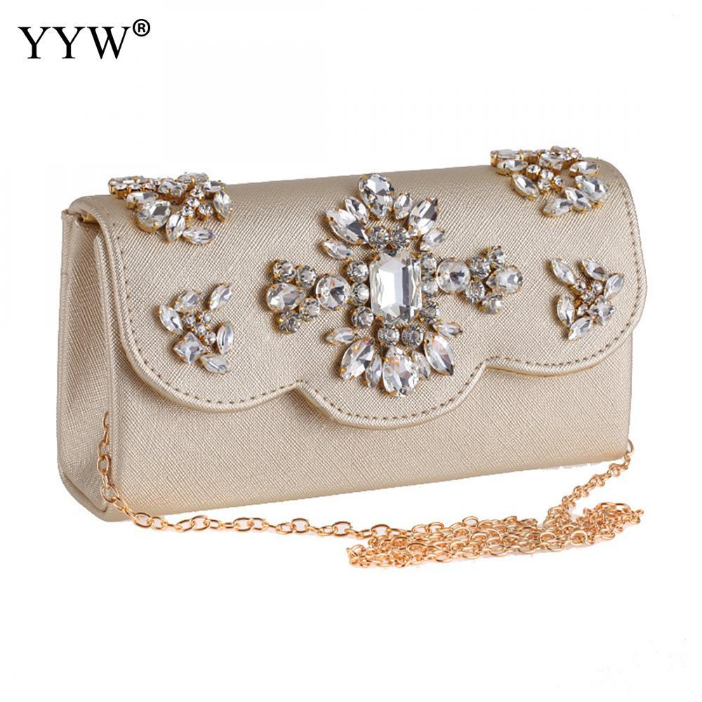 Gold Luxury Handbags Designer Party Evening Bag With Rhinestone 2018 Chain Party Clutch Bag For Women Wedding Lady Shoulder